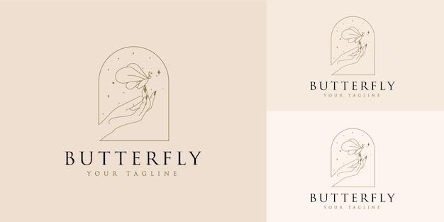 Vrouwelijk schoonheidslogo met handen vlindersterren en vrouwenhand voor make-up spa salon huid haarverzorging