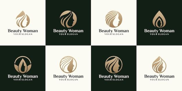 Vrouwelijk schoonheidslogo, met het gezichtssilhouet van een vrouw