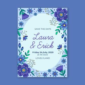 Vrouwelijk sparen het datum blauwe bloemenuitnodigingsthema