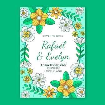 Vrouwelijk sparen het thema van de datum groene bloemenuitnodiging