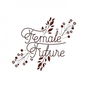 Vrouwelijk toekomstig etiket met bloem geïsoleerd pictogram
