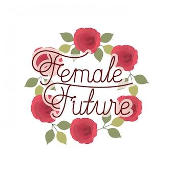 Vrouwelijk toekomstig etiket met kroon van bloemen geïsoleerd pictogram