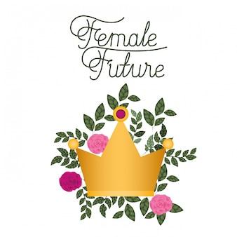Vrouwelijk toekomstig etiket met rozen geïsoleerd pictogram