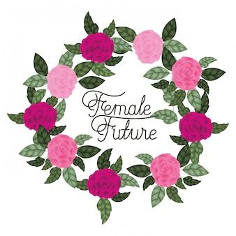 Vrouwelijk toekomstig etiket met rozenkaderpictogrammen