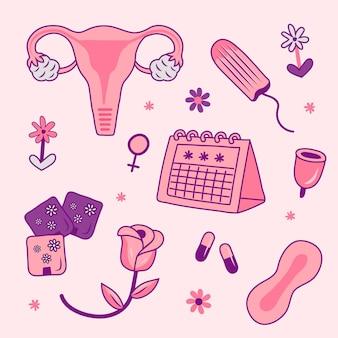 Vrouwelijk voortplantingssysteem handgetekende stijl