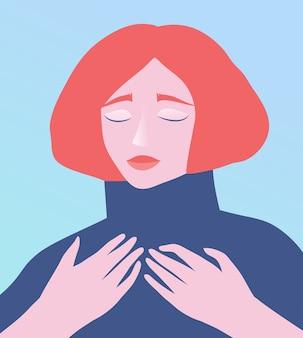 Vrouwelijk vrouwengezicht en handen, opgegroeid in verdriet, verdriet of opluchting, modern plat ontwerp van de ziel.