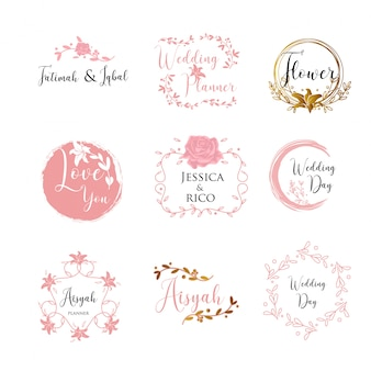 Vrouwelijk wedding planner sjabloon logo teken