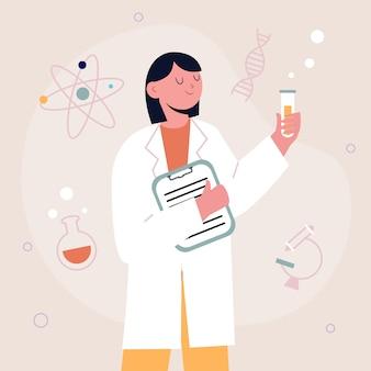 Vrouwelijk wetenschapperconcept voor illustratie