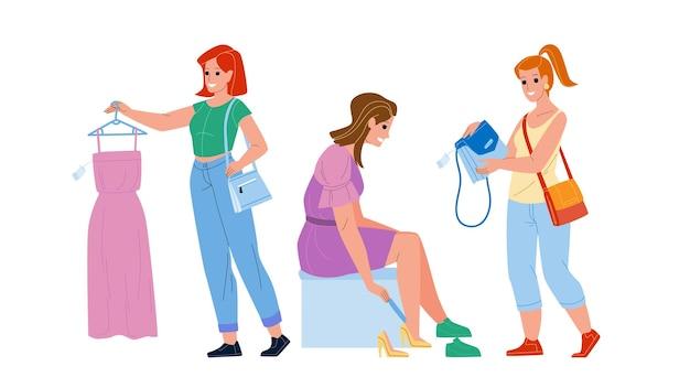 Vrouwelijk winkelberoep in kledingwinkel