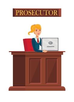Vrouwelijke aanklager op het werk