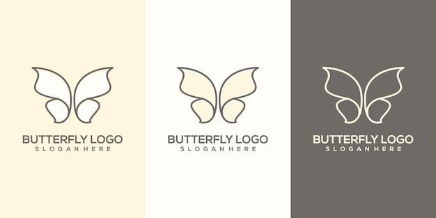 Vrouwelijke abstracte vlinder logo sjabloon