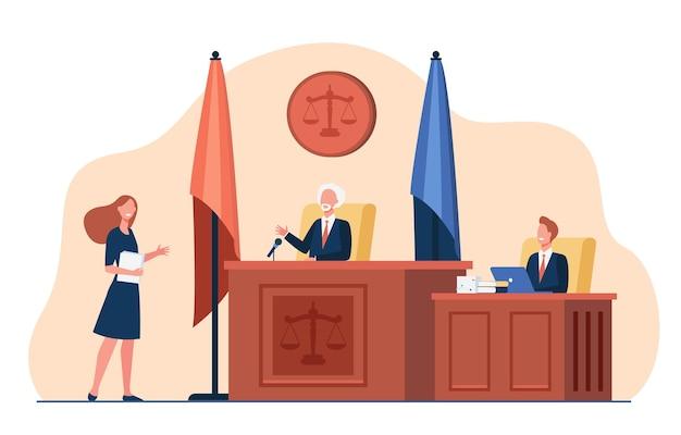 Vrouwelijke advocaat die zich voor rechter bevindt en geïsoleerde vlakke illustratie spreekt.