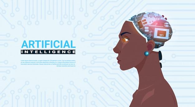 Vrouwelijke african american hoofd met moderne cyborg brain over circuit moederbord achtergrond kunstmatig