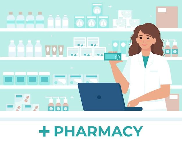 Vrouwelijke apotheker achter de toonbank in een drogisterij die geneeskunde verkoopt. illustratie in vlakke stijl