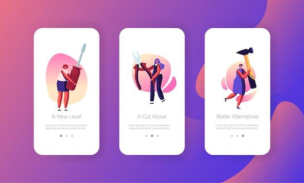 Vrouwelijke arbeiders met hulpmiddelen. mobiele app-pagina ingebouwde schermset meisjes met enorme instrumenten en apparatuur voor huisreparatie en renovatieconcept