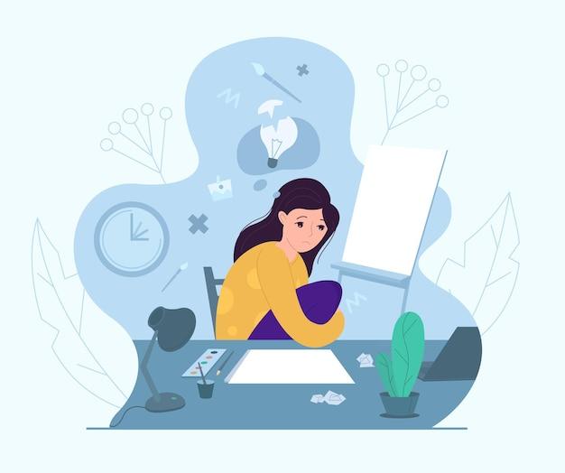 Vrouwelijke artiest ervaart creatieve crisis, vectorillustratie. angst, vermoeidheid, hoofdpijn, stress, depressie, burn-out