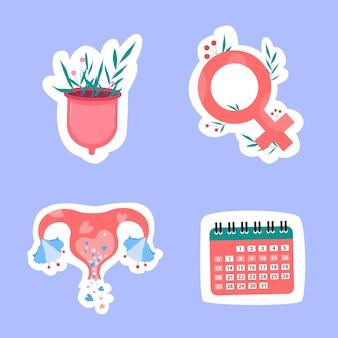 Vrouwelijke artikelen voor menstruatie, menstruatiecup, baarmoeder, kalender, vrouwelijk symbool in platte trendstijl