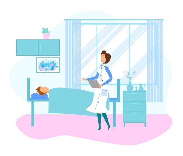 Vrouwelijke arts bezoek patiënt liggend in ziekenhuisbed