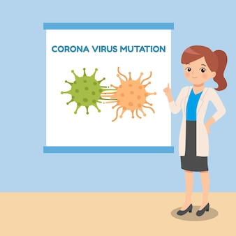 Vrouwelijke arts die de mutatie van het coronavirus uitlegt. pandemie medische cartoon concept. plat ontwerp.