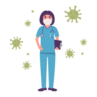 Vrouwelijke arts die een medisch masker draagt. voorkom epidemisch coronavirus. stop covid-.medisch personeel.
