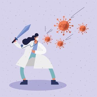 Vrouwelijke arts die medisch masker met de illustratie van het zwaard en van virusdeeltjes draagt