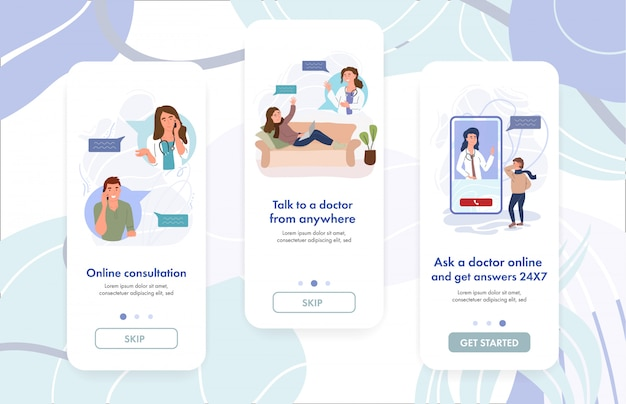 Vrouwelijke arts die online overleg geeft aan de patiënt. virtuele huisartsendiagnose. vr-geneeskunde. digitale zorg. website sjabloon voor spandoek. cartoon illustratie virtuele kliniek app concept