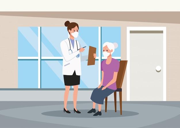 Vrouwelijke arts die oudere karakters beschermt