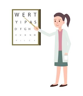 Vrouwelijke arts die visiecontrole doet