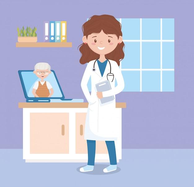 Vrouwelijke arts en oude patiënt in laptopoverleg online, artsen en ouderen