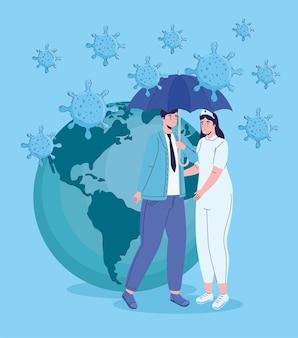 Vrouwelijke arts en patiënt met virusdeeltjes in de illustratie van de aardeplaneet