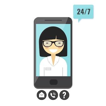 Vrouwelijke arts geeft een medisch advies over smartphone. arts consultatiedienst