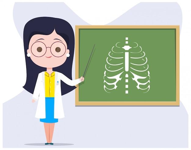 Vrouwelijke arts girl character teacher teaching een rib cage