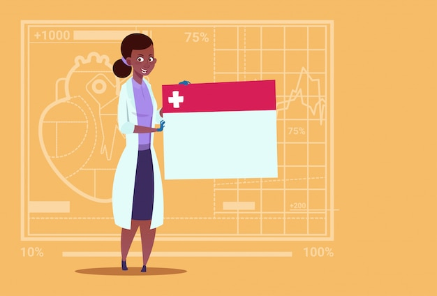 Vrouwelijke arts holding lege diagnose banner medische klinieken werknemer african american hospital