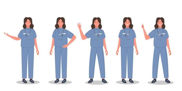 Vrouwelijke arts in verschillende poses groep medische professionele vrouw in sanitair uniform
