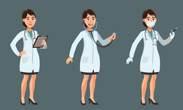 Vrouwelijke arts in verschillende poses. vrouw in cartoon-stijl.