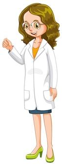 Vrouwelijke arts in witte jurk