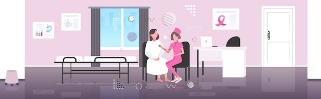 Vrouwelijke arts luisteren borst van patiënt met stethoscoop borstkanker dag ziektebewustzijn en preventie