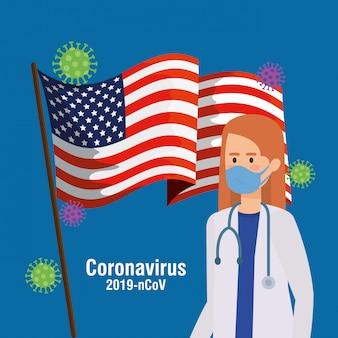 Vrouwelijke arts met de covid19 van de vs vlag pandemie