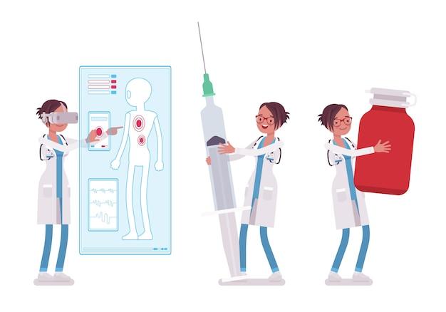 Vrouwelijke arts met gigantische dingen
