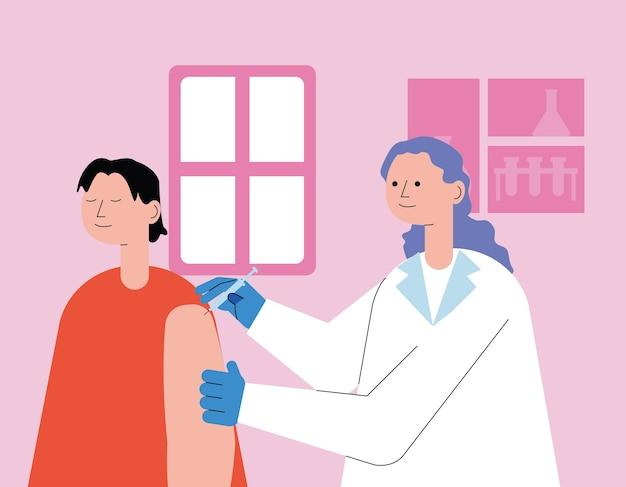 Vrouwelijke arts met patiënt het injecteren van de illustratieontwerp van het vaccin