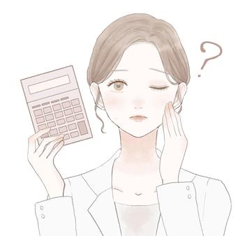 Vrouwelijke arts met rekenmachine, twijfels. op een witte achtergrond.