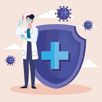 Vrouwelijke arts met vaccin en schild en covid19-deeltjes