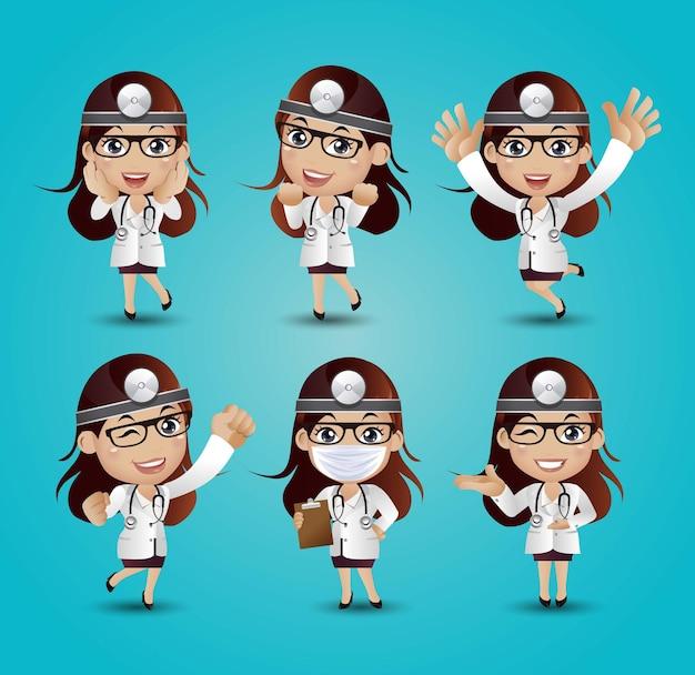 Vrouwelijke arts met verschillende poses