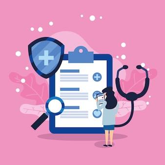 Vrouwelijke arts met verzekeringsdocument en pictogrammen