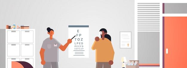 Vrouwelijke arts oogarts wijzend op brieven op oog grafiek controleren afro-amerikaanse patiënt visie geneeskunde gezondheidszorg concept ziekenhuis medische kliniek kantoor interieur portret horizontaal