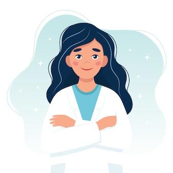 Vrouwelijke arts schattig karakter.