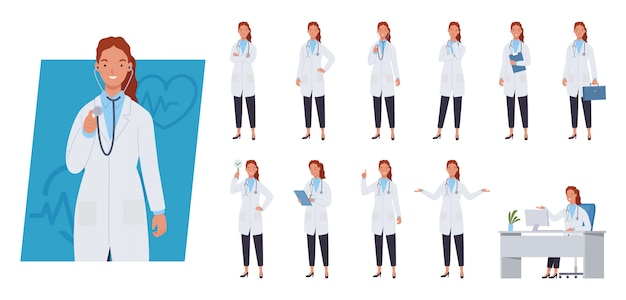 Vrouwelijke arts tekenset. verschillende poses en emoties.
