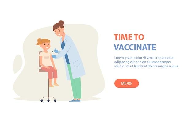 Vrouwelijke arts vaccineert het meisje goede immuniteit bij vaccinatie van kinderen tegen covid19 of griep