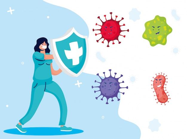 Vrouwelijke arts vechten virus met schild stripfiguren