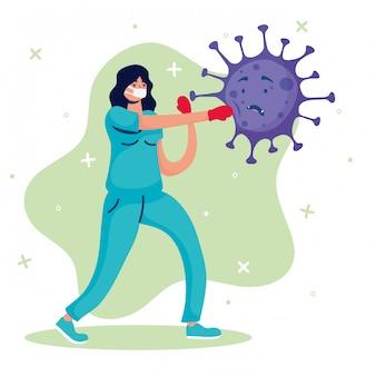 Vrouwelijke arts vechten virus stripfiguren